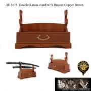 Double Katana stand with Drawer Copper Brown
